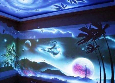 Флуоресцентная краска и люминофор в дизайне интерьеров.