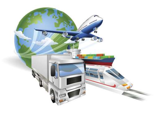 Global logistics concept airplane truck train ship