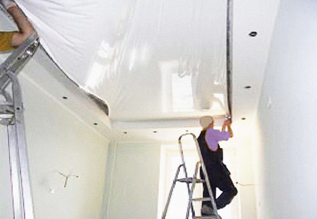 Как установить натяжные потолки
